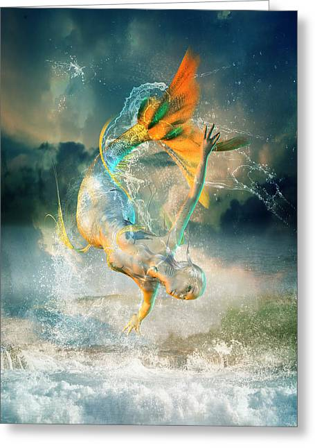 Extinct And Mythical Digital Art Greeting Cards - Aquatica Greeting Card by Karen H