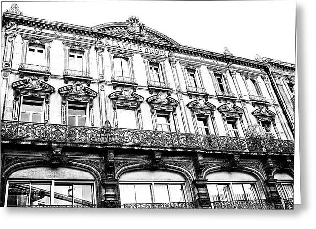 Fashion Photos For Sale Greeting Cards - Aquitaine Art Nouveau Windows bw Greeting Card by Nomad Art And  Design