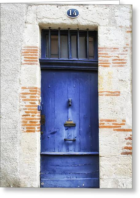 French Doors Greeting Cards - Aquitaine Blue Door 2 Greeting Card by Georgia Fowler