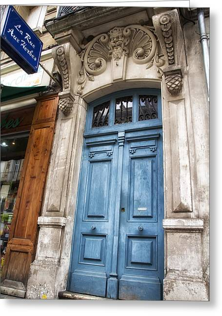 Fashion Photos For Sale Greeting Cards - Aquitaine Blue Door Greeting Card by Nomad Art And  Design