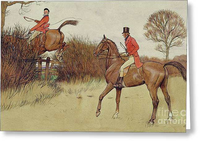 Ar Never Gets Off - Hunting Scene Greeting Card by Cecil Charles Windsor Aldin