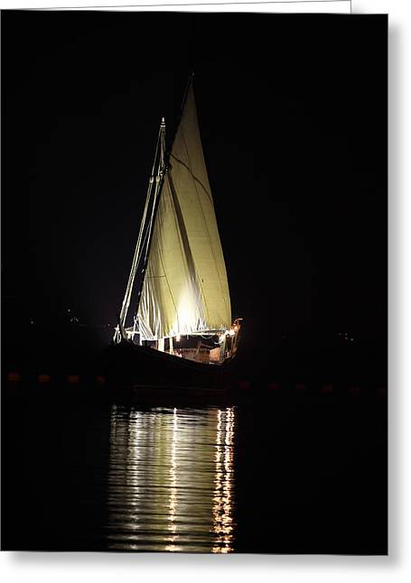 Best Sellers -  - Wooden Ship Greeting Cards - Arab dhow at night Greeting Card by Paul Cowan