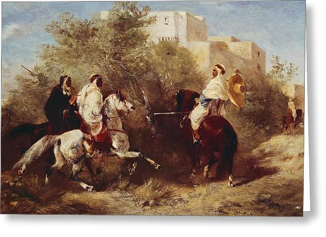 Crusade Greeting Cards - Arab Horsemen Greeting Card by Eugene Fromentin