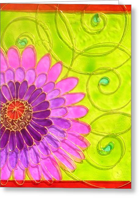 Swirl Glass Art Greeting Cards - Arabesc Flower - Panel 1 Greeting Card by Gabriela Stavar