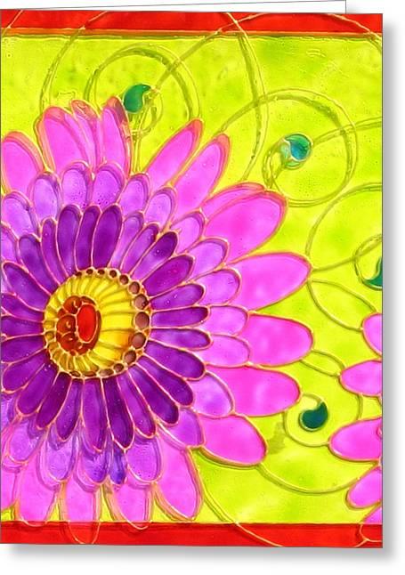 Swirl Glass Art Greeting Cards - Arabesc Flower - Panel 2 Greeting Card by Gabriela Stavar