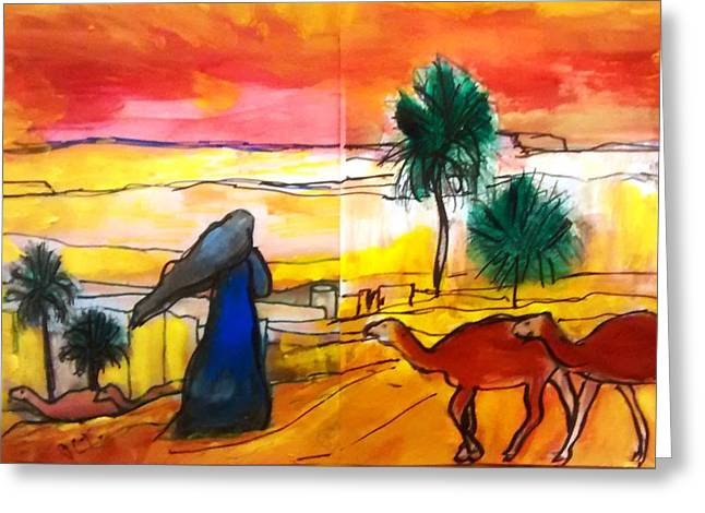 Arabian Desert Landscape  Greeting Card by Patricia Taylor