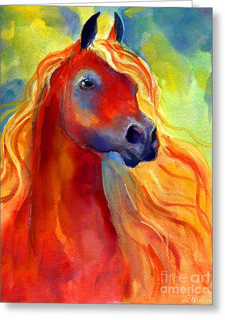 Custom Horse Portrait Greeting Cards - Arabian horse 5 painting Greeting Card by Svetlana Novikova