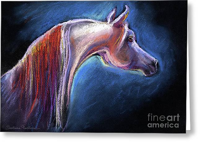 Horse Art Pastels Greeting Cards - Arabian horse equine painting Greeting Card by Svetlana Novikova