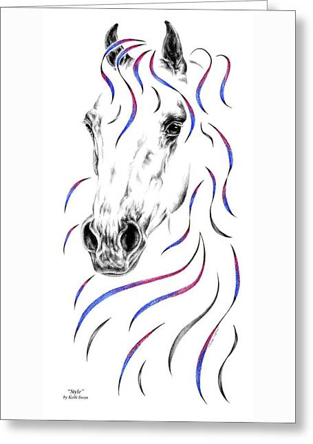 Arabian Horse Style Greeting Card by Kelli Swan