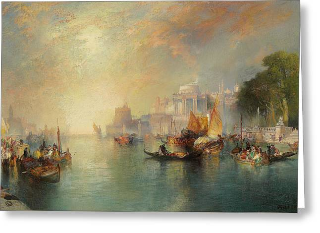 River View Greeting Cards - Arabian Nights Fantasy Greeting Card by Thomas Moran
