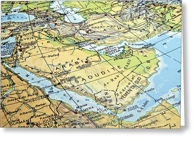Iraq Conflict Greeting Cards - Arabian Peninsula map. Greeting Card by Fernando Barozza