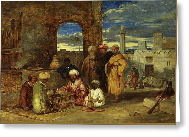Arabs Playing Chess, 1843 Greeting Card by William James Muller