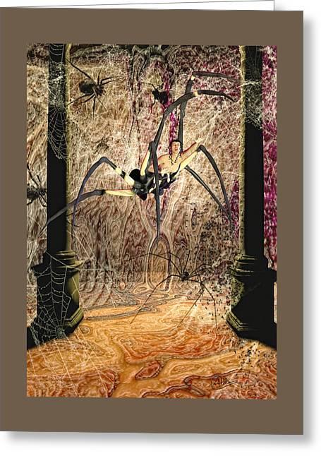 Artistic Nude Framed Prints Greeting Cards - Arachne metamorphosis Greeting Card by Quim Abella