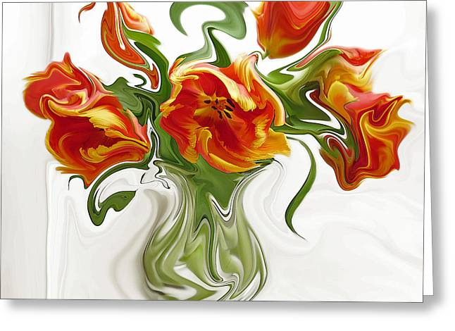Recently Sold -  - Red Abstracts Greeting Cards - Arancione Improvvisare Greeting Card by Suzy Freeborg
