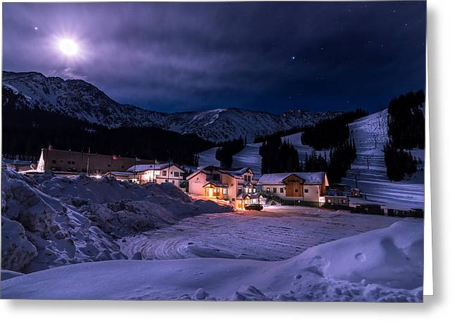 Scenic Greeting Cards - Arapahoe Basin Full Moon Night Greeting Card by Michael J Bauer