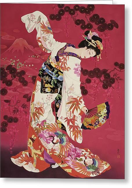 Purple Robe Greeting Cards - Aratama Greeting Card by Haruyo Morita