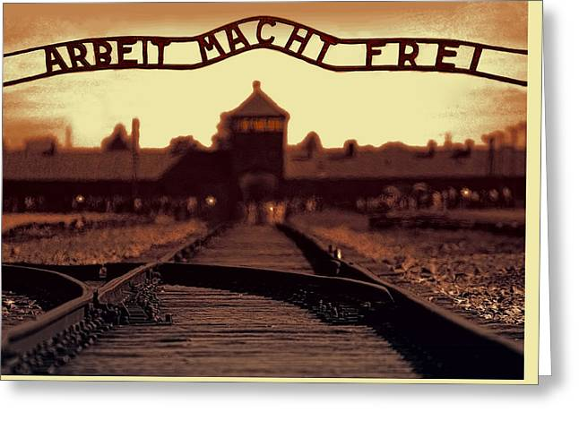 Evil Mixed Media Greeting Cards - Arbeit Macht Frei Greeting Card by Daniel Hagerman