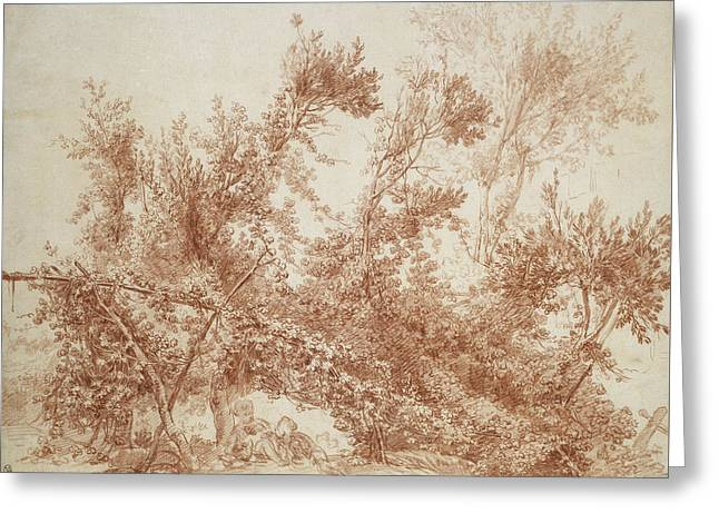 Arbor With Two Children Greeting Card by Jean-Honore Fragonard