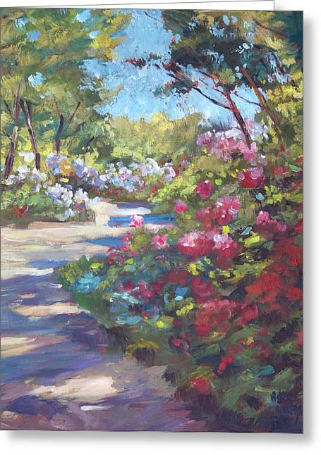 Arboretum Garden Path Greeting Card by David Lloyd Glover