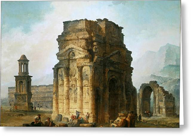 Robert; Hubert (1733-1808) Greeting Cards - Arc de Triomphe and the theater in Orange Greeting Card by Hubert Robert