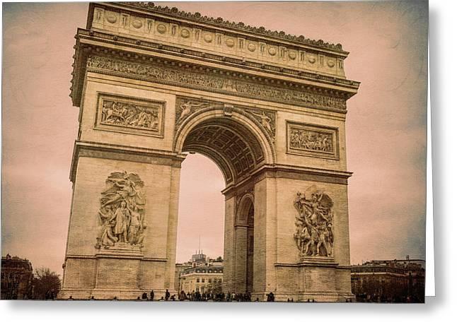 Arc De Triomphe Paris Greeting Card by Joan Carroll