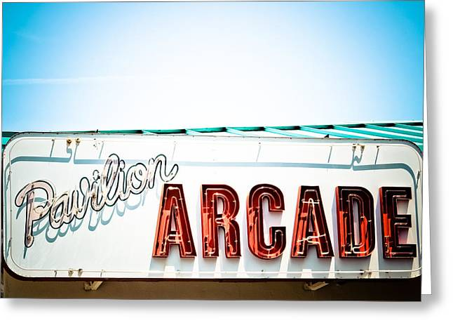 Old Signage Greeting Cards - Arcade Greeting Card by Colleen Kammerer