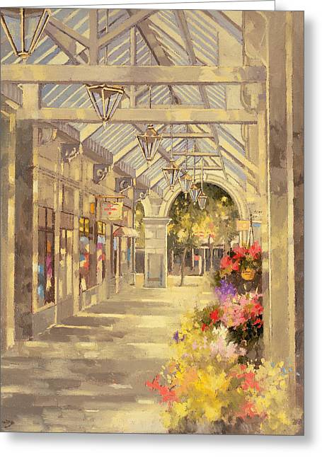 Sunlight On Pots Greeting Cards - Arcade Greeting Card by Peter Miller