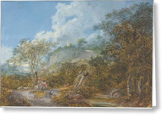 Outlook Drawings Greeting Cards - Arcadian Landscape With An Obelisk Greeting Card by Salomon Gessner