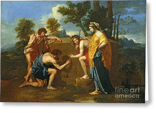 Poussin; Nicolas (1594-1665) Greeting Cards - Arcadian Shepherds Greeting Card by Nicolas Poussin