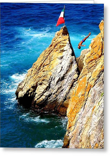 Acapulco Greeting Cards - ARCH of a DIVER Greeting Card by Karen Wiles
