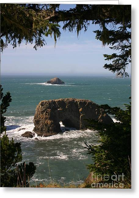 Arch Rock View Greeting Card by Marie Neder
