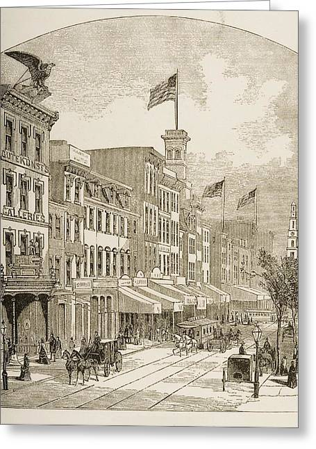 Philadelphia History Drawings Greeting Cards - Arch Street Philadelphia Pennsylvania Greeting Card by Vintage Design Pics