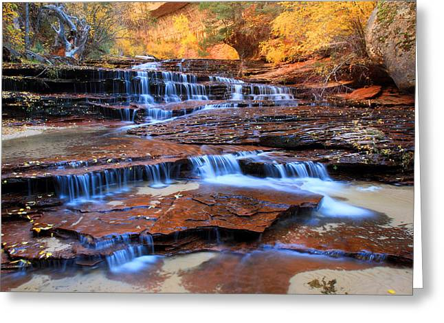 Archangel Greeting Cards - Archangel falls in Zion national park Greeting Card by Pierre Leclerc Photography