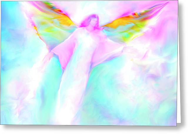Angelic Greeting Cards - Archangel Gabriel in Flight Greeting Card by Glenyss Bourne