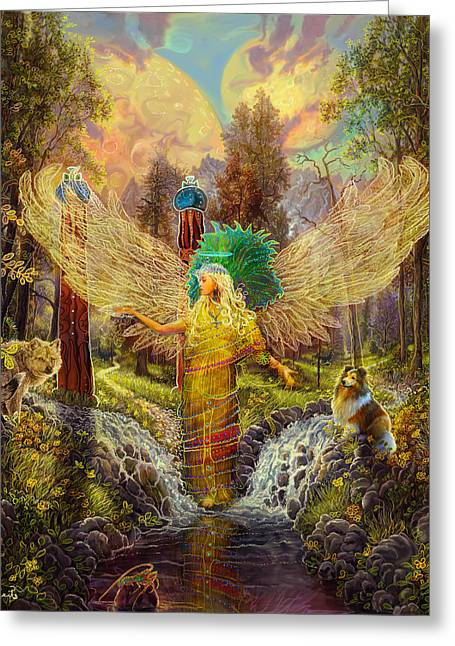 Angel Art Greeting Cards - Archangel Haniel Greeting Card by Steve Roberts