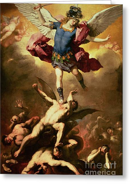 Nude Greeting Cards - Archangel Michael overthrows the rebel angel Greeting Card by Luca Giordano