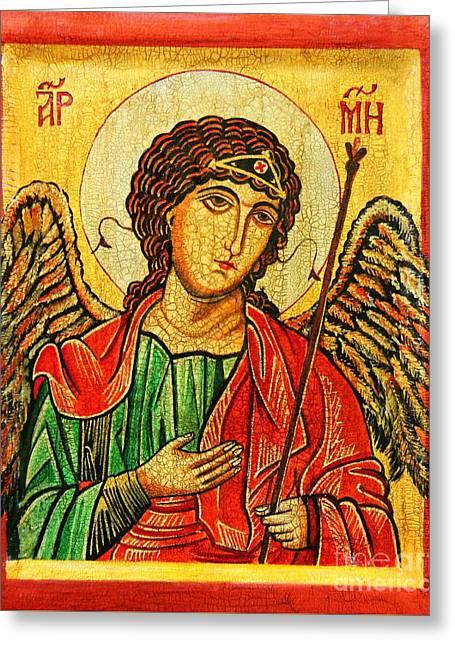 Archangel Michael  Greeting Card by Ryszard Sleczka