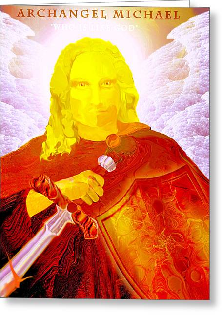 Valerie Anne Kelly Art Greeting Cards - Archangel Michael Greeting Card by Valerie Anne Kelly