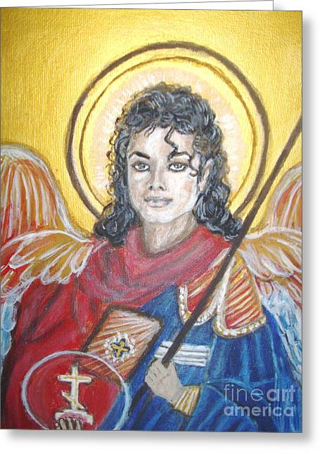 Michael Jackson Greeting Cards - Archangel MJ Greeting Card by Jocelyne Beatrice Ruchonnet