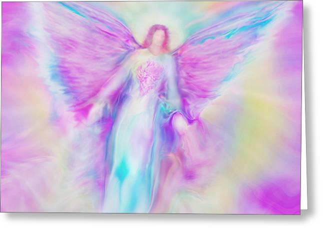 Archangel Raphael in Flight Greeting Card by Glenyss Bourne