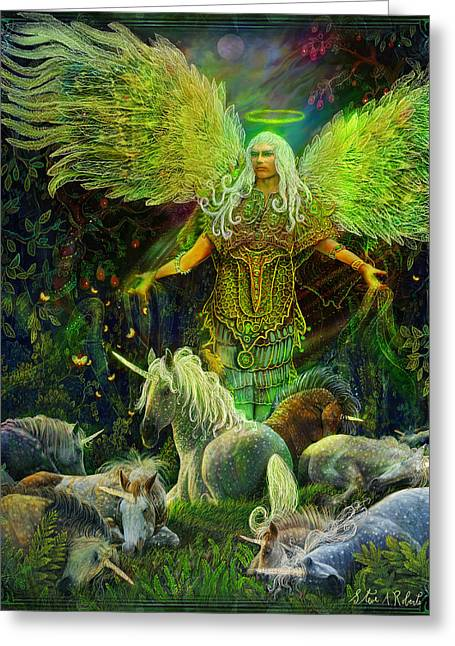 Angel work Paintings Greeting Cards - Archangel Raphael Protector of Unicorns Greeting Card by Steve Roberts