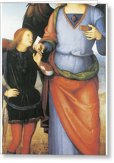 Archangel Greeting Cards - Archangel Raphael with Tobias Greeting Card by Pietro Perugino