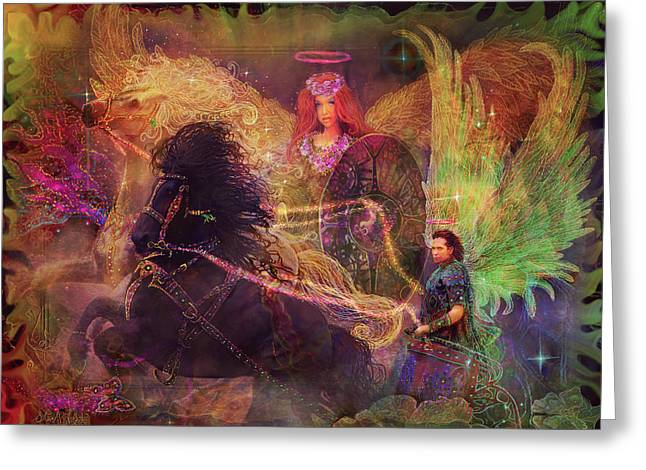 Archangels Ariel And Metatron Greeting Card by Steve Roberts