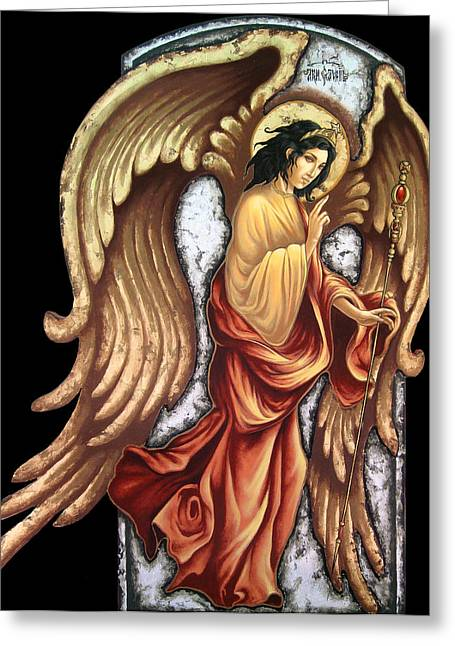 Icon Byzantine Greeting Cards - Archangrl Gabriel Greeting Card by Iosif Ioan Chezan