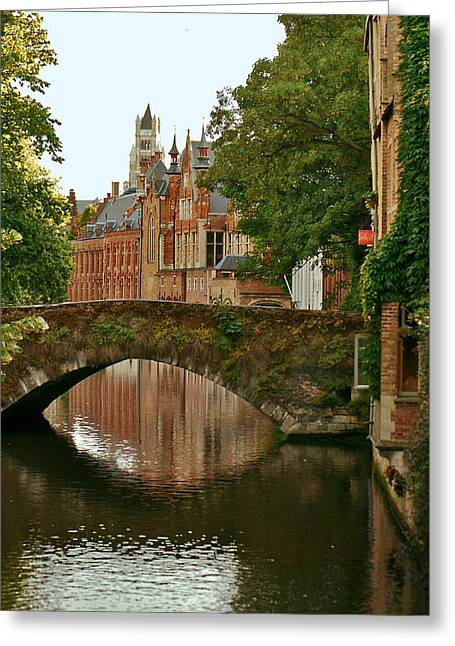 Jeka World Photography Greeting Cards - Arched Bridge over one of Bruges Canals Greeting Card by Jeff Rose