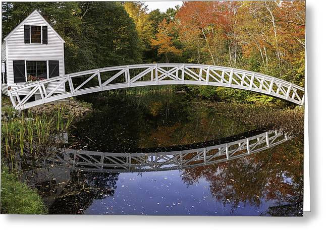New England Village Scene Greeting Cards - Arched Bridge-Somesville Maine Greeting Card by Thomas Schoeller