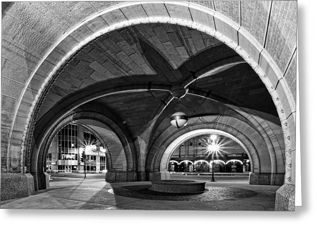 Cj Schmit Greeting Cards - Arched in Black and White Greeting Card by CJ Schmit