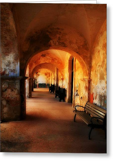 Puerto Rico Greeting Cards - Arched Spanish Hall Greeting Card by Perry Webster