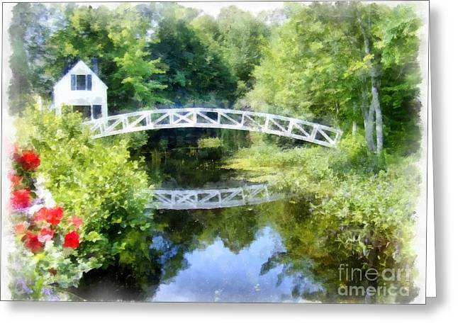 Somesville Maine Greeting Cards - Arched wooden foot bridge Mount Desert Island Acadia Maine Greeting Card by Edward Fielding