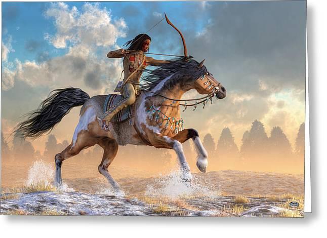 Archer On Horseback Greeting Card by Daniel Eskridge